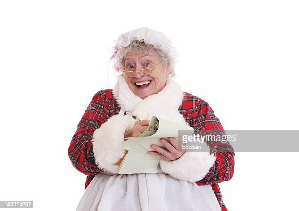 Christmas: Senior Mrs Claus with notepad