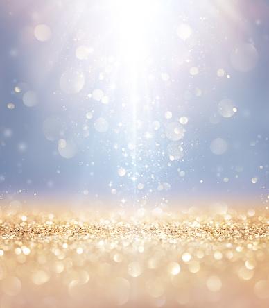 Christmas Shiny - Lights And Stars Falling On Golden Glitter 870215026