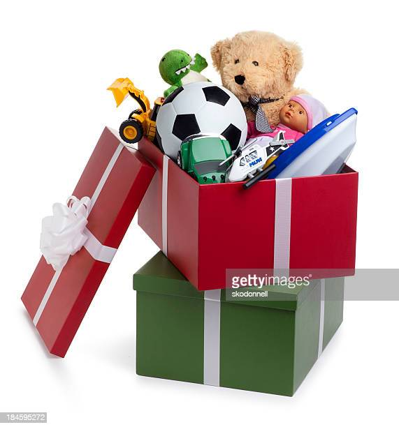 christmas shoebox for children - shoe box stock pictures, royalty-free photos & images