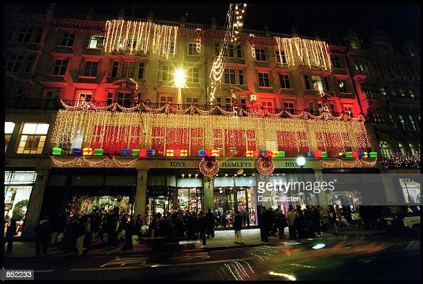 Christmas shoopers crowd outside the world famous Hamleys toy store on London's exclusive Regent street November 24 2000 in London UK