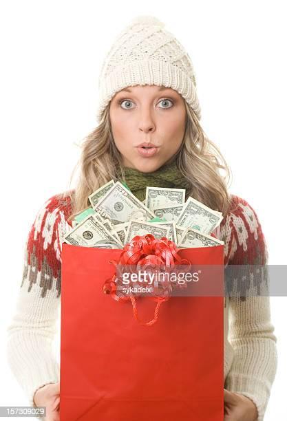 christmas shopper money surprise - christmas cash stock pictures, royalty-free photos & images