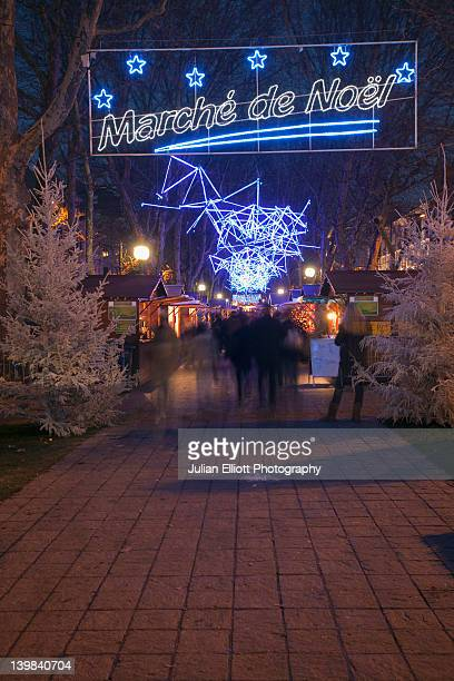Christmas shoppers at the marche de noel (Christmas Market) in Tours, France.