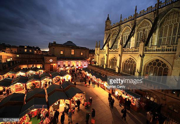 Christmas shoppers browse the offerings at the Bath Christmas Market on November 25 2010 in Bath England Originating in Germany Christmas markets...