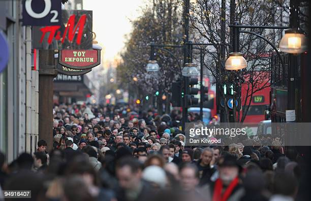 Christmas shoppers pack Oxford Street on December 19 2009 in London England The last weekend before Christmas is expected to be the busiest of the...
