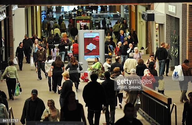 Christmas shoppers roam around at a shopping mall in Glendale California on December 23 2008 California Governor Arnold Schwarzenegger warned his...