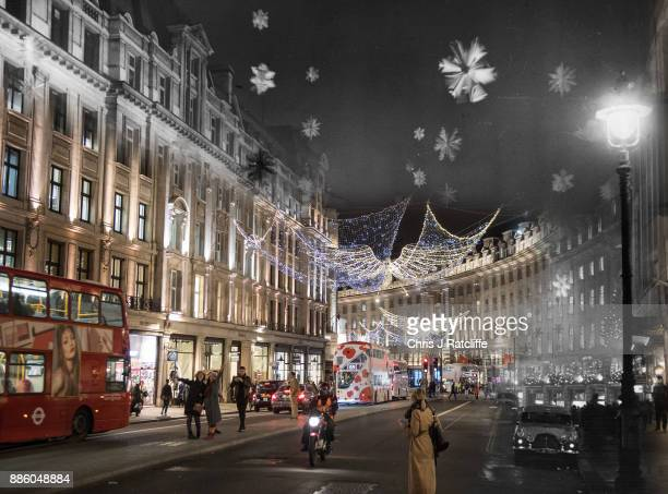 In this digital composite image a comparison has been made of London at Regent Street in 1955 and Modern Day 2017 at Christmas time LONDON ENGLAND...