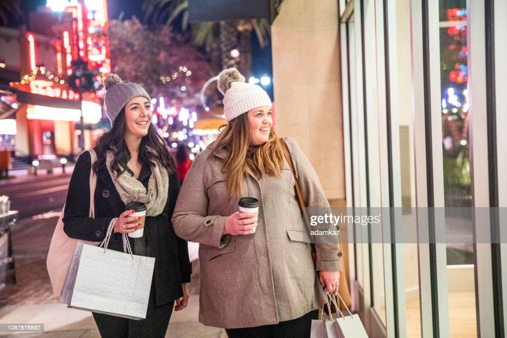 Christmas Shopping at Night : Stock Photo