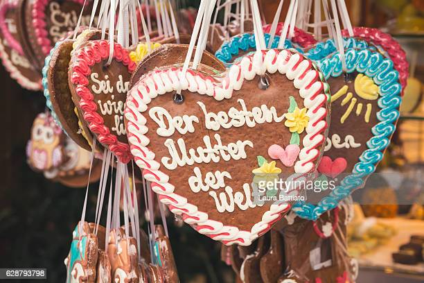 Christmas Shopping - German Lebkuchen cookies for sale in a Christmas market stall