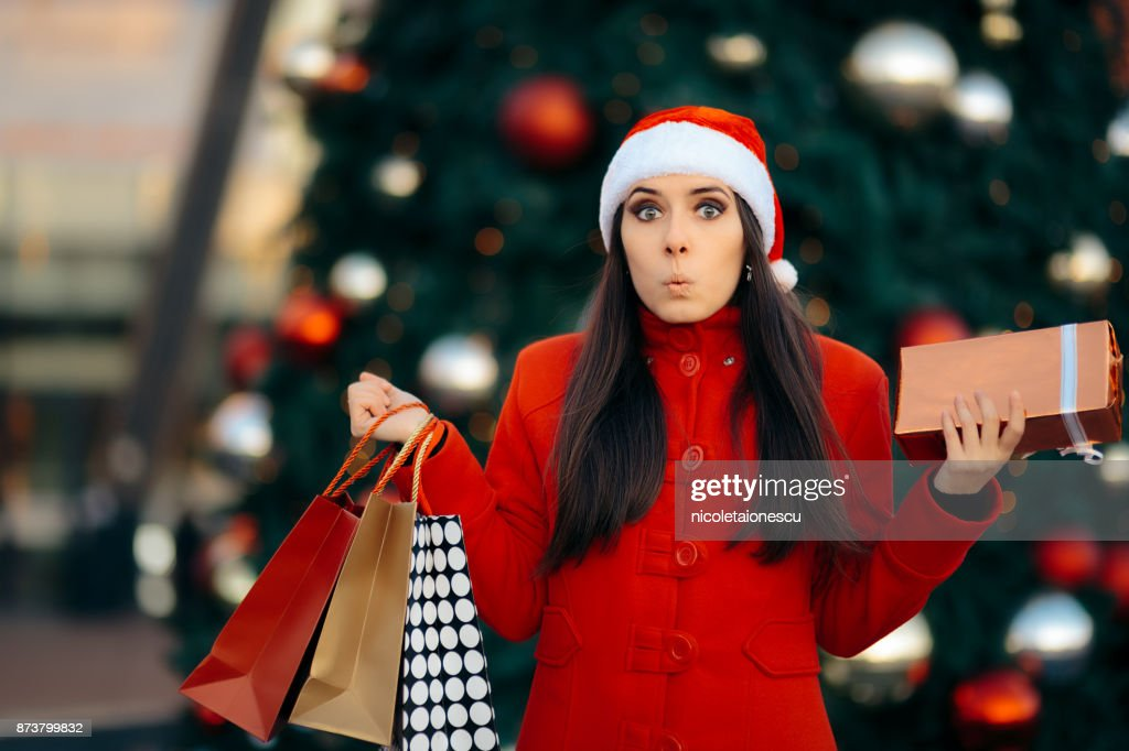 Christmas Shopping Girl with Bags and Gift Box : Stock Photo