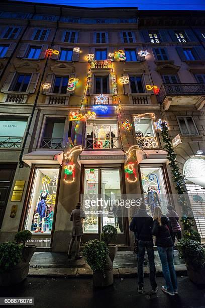 christmas shopping in milan, stella mccartney store - stella mccartney designer label stock pictures, royalty-free photos & images