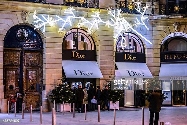 パリでクリスマスショッピング、dior のヴァンドーム広場に - ヴァンドーム広場 ストックフォトと画像