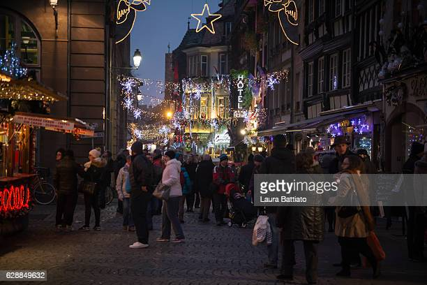 Christmas Shopping - People walking in Strasbourg Christmas fairy ambience, Alsace, France