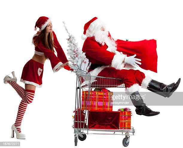 weihnachts-shopping - weihnachtsfrau stock-fotos und bilder