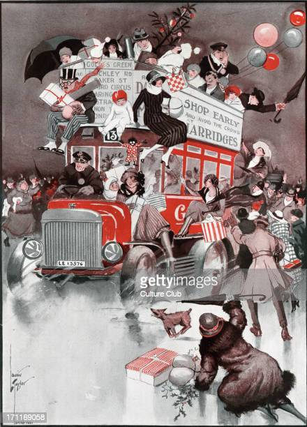 Christmas shoppingfrom The Graphic 1921 Illustrated by Laurie Tayler