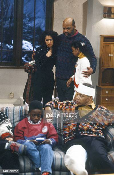 AIR Christmas Show Episode 13 Pictured Back Karyn Parsons as Hilary Banks James Avery as Philip Banks Tatyana Ali as Ashley Banks Front Ahmad Stoner...