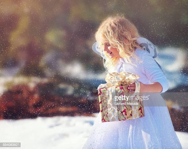 Christmas Snow Angel With Gift