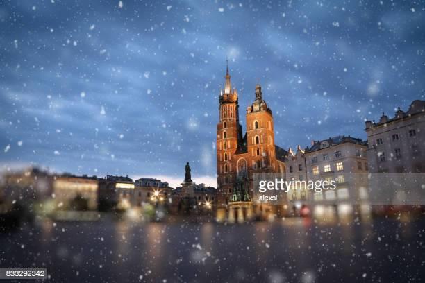 Christmas snow in Krakow Poland