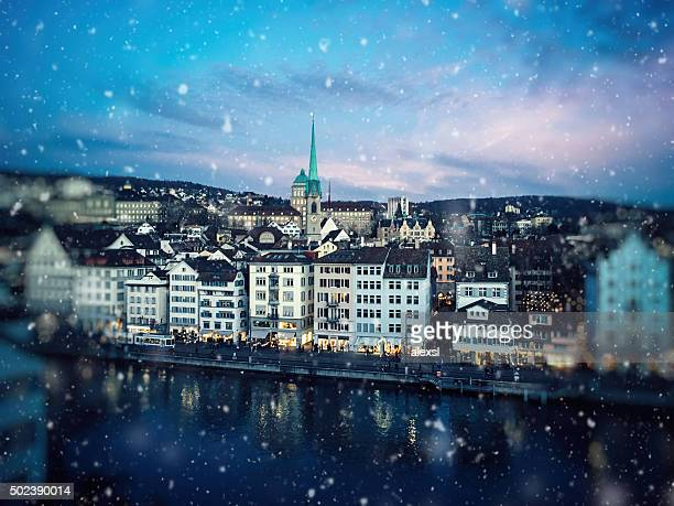 christmas snow in zurich, switzerland - zurich stock pictures, royalty-free photos & images