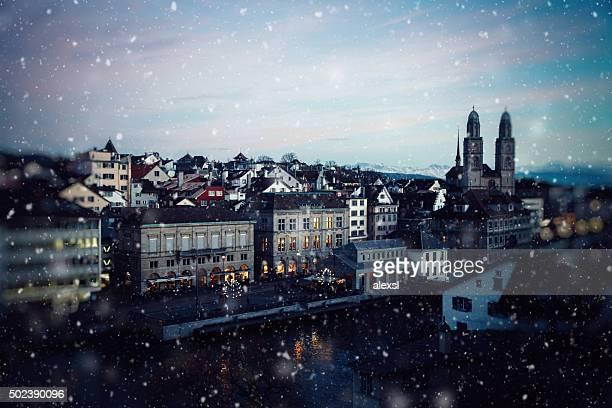 Weihnachten Schnee in Zürich, Schweiz