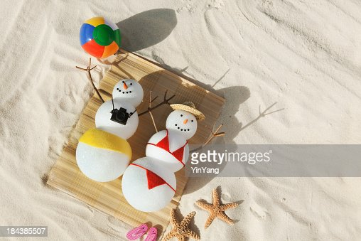 Christmas snowman winter holiday vacation on tropical