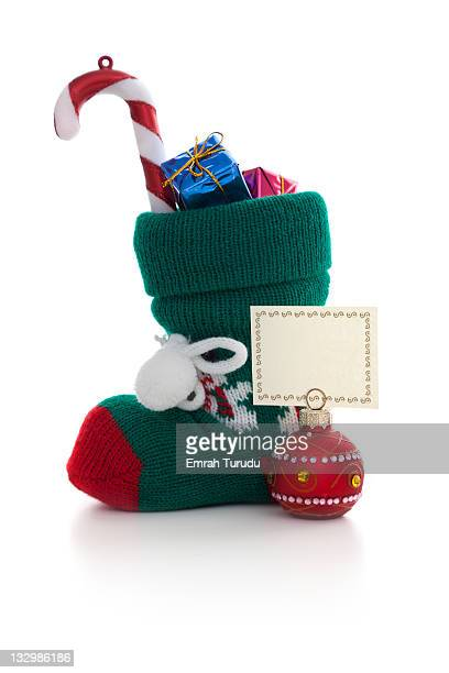 Christmas sock filled gift box