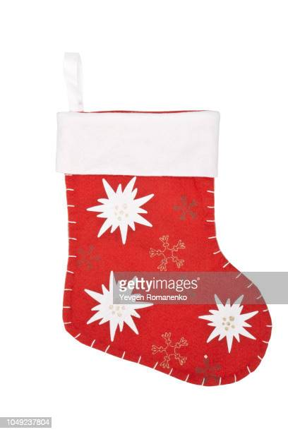 christmas sock isolated on white - calza della befana foto e immagini stock