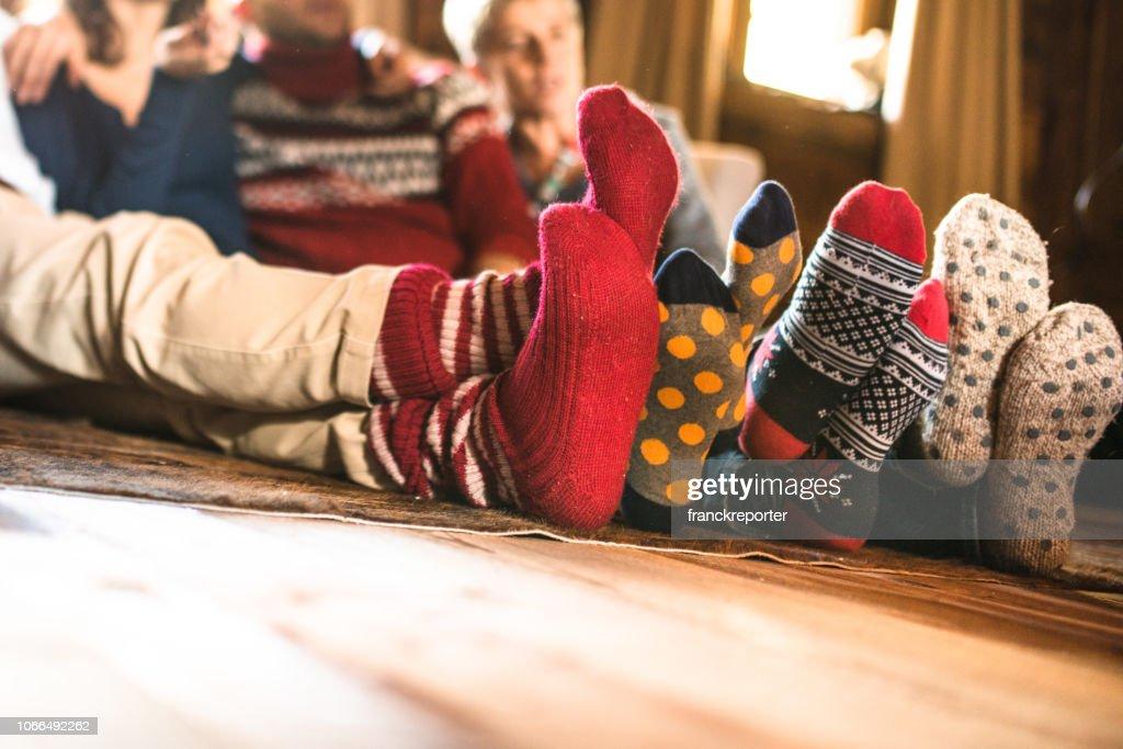 christmas socks at home : Stock Photo