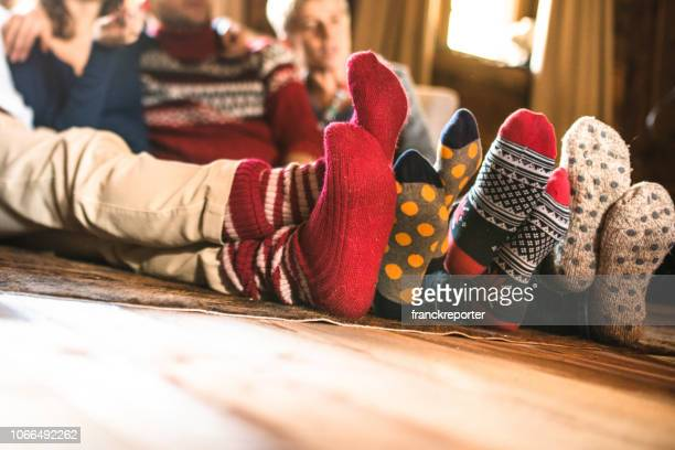 christmas socks at home - cosy stock pictures, royalty-free photos & images