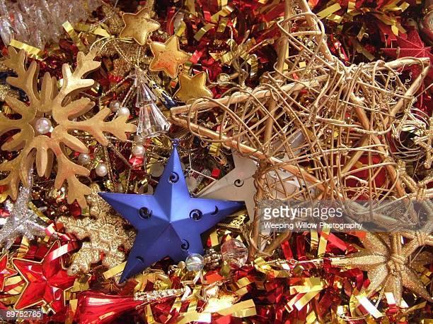 Christmas stars and tinsel