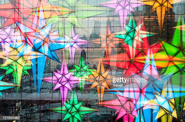 Christmas stars at Columbus Circle in Manhattan
