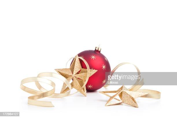 christmas stars, baubles and gold ribbons (xxl) - christmas decoration stock pictures, royalty-free photos & images