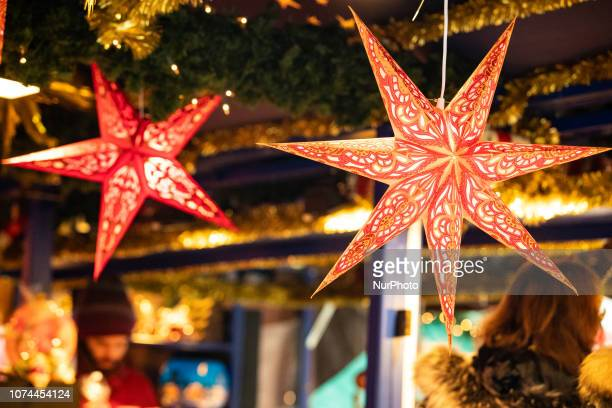Christmas stars Christmas Market in the Bavarian city of Augsburg It is placed next to the town hall