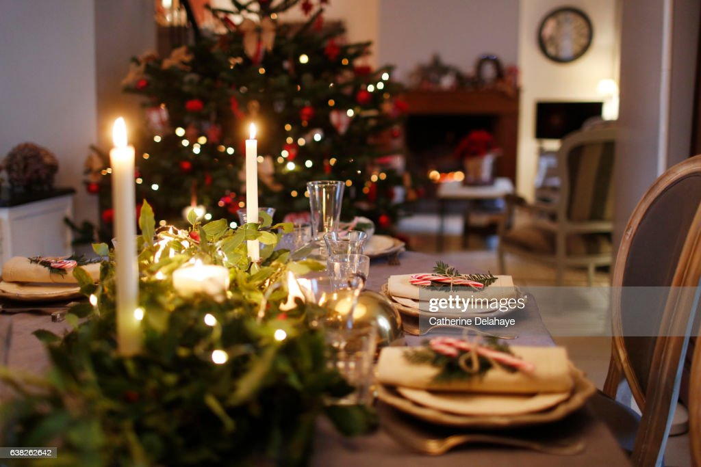 Christmas still life, table set : Stockfoto