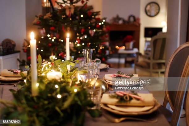 christmas still life, table set - eettafel stockfoto's en -beelden