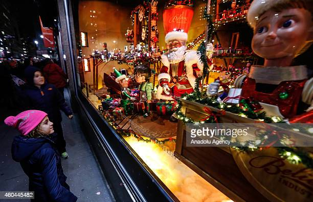 Christmas stock is displayed in one of the themed store as preparations for Christmas celebrations get started in New York on December 132014