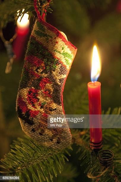 Christmas Stocking and Candle on Christmas Tree Switzerland