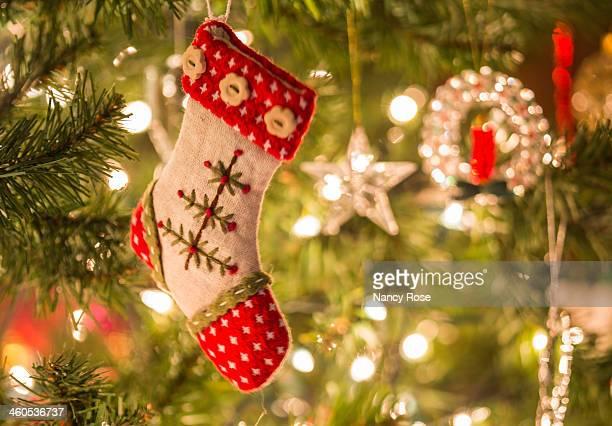 Christmas stocking on the tree