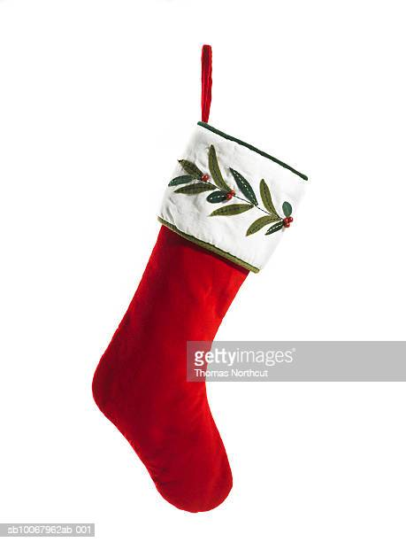 christmas stocking on white background - christmas stocking stock pictures, royalty-free photos & images