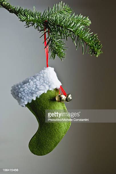 Christmas stocking ornament hanging on branch