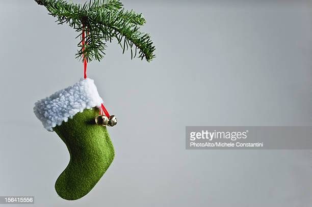 christmas stocking ornament hanging on branch - christmas stocking stock pictures, royalty-free photos & images