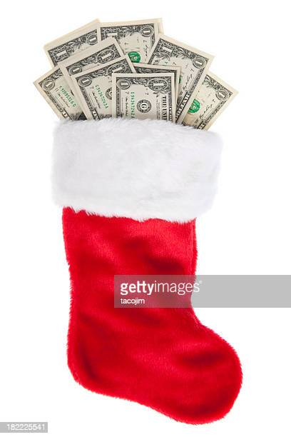 christmas stocking stuffed with money - christmas stocking stock photos and pictures