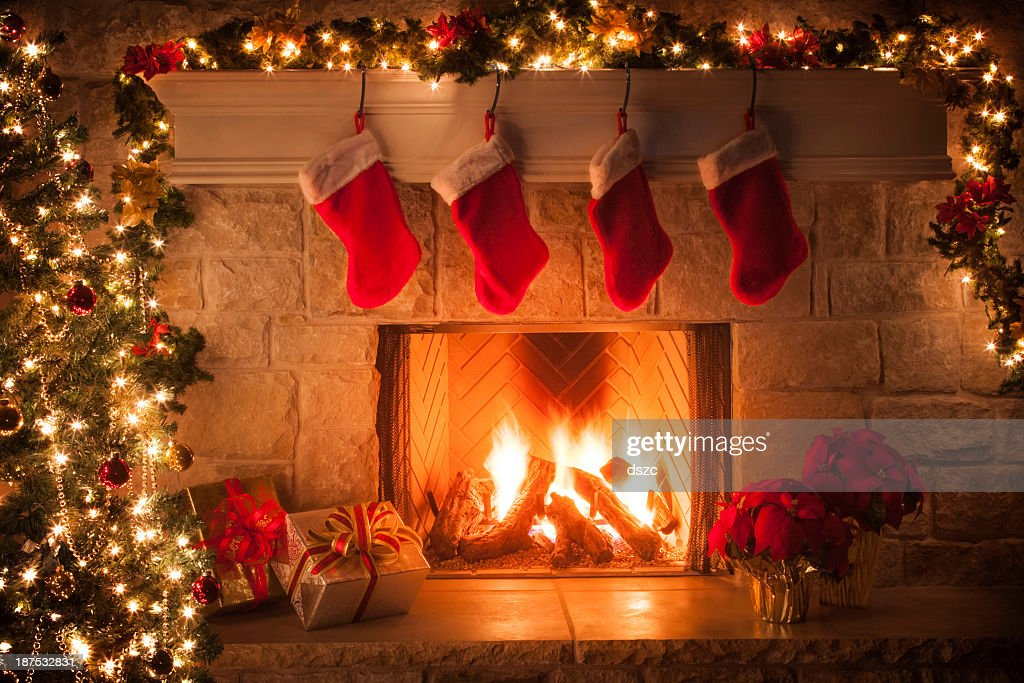 Christmas Stockings Fireplace Tree And Decorations Stock