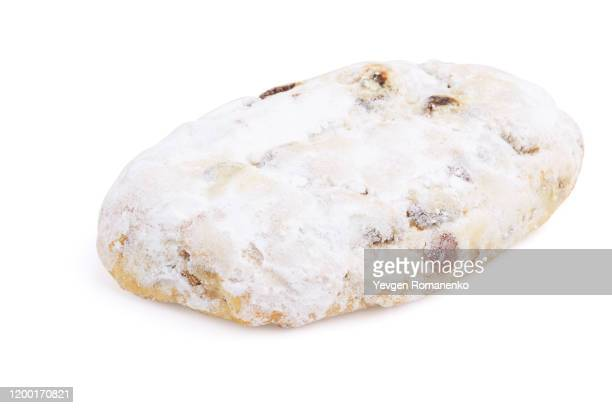 christmas stollen from dresden isolated on white background - marzipan stock pictures, royalty-free photos & images