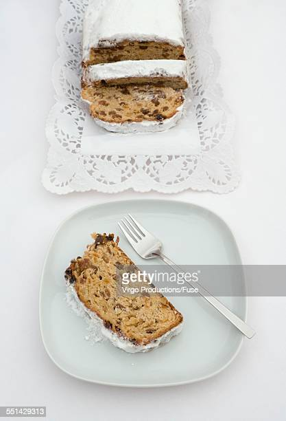 christmas stollen - doily stock photos and pictures