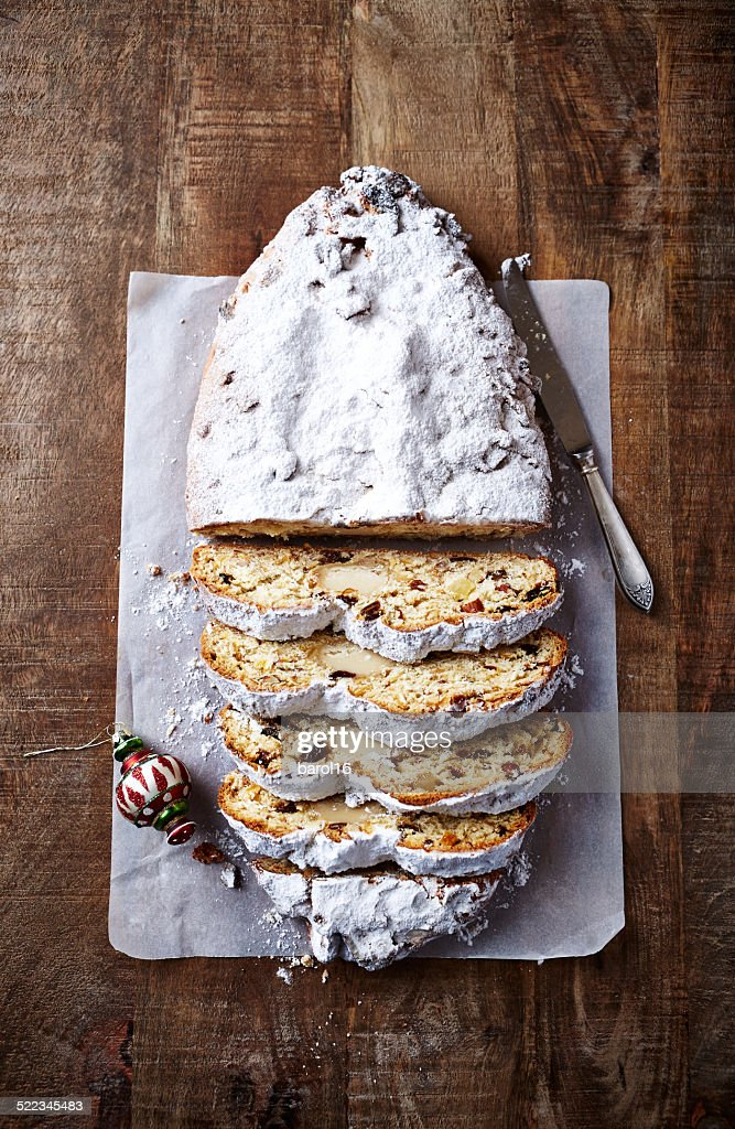 Christmas stollen, sliced : Stock Photo