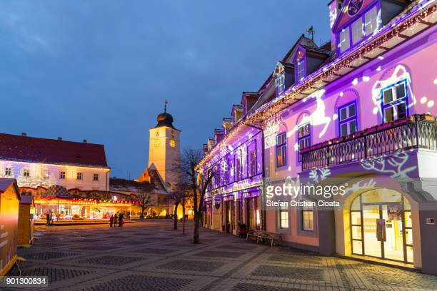 christmas street decorations - sibiu stock photos and pictures