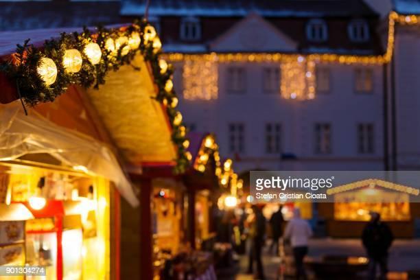 christmas street decorations - sibiu stock-fotos und bilder