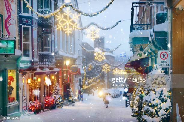 christmas street decorations - quebec stock pictures, royalty-free photos & images