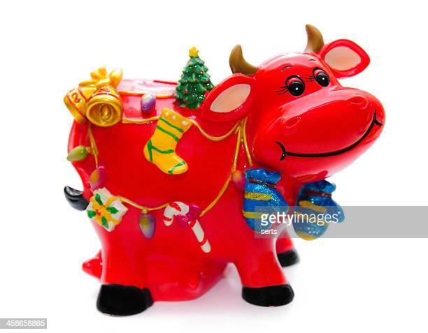 Christmas Style Polyresin Cow Money Box