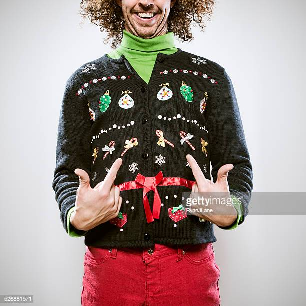 christmas sweater man - fashion oddities stock pictures, royalty-free photos & images